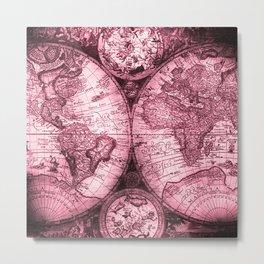 Vintage Pink Map Design Metal Print