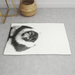 Black and white lemur animal portrait Rug