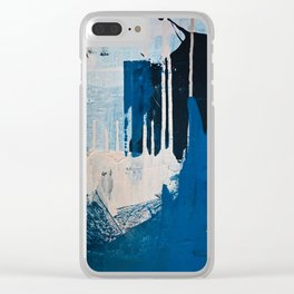 Solstice: a minimal abstract piece in blues and cream by Alyssa Hamilton Art Clear iPhone Case