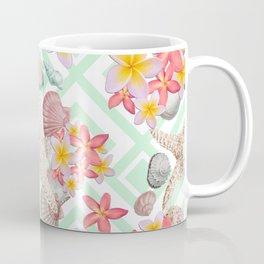 Modern tropical flowers seashells geometric design Coffee Mug