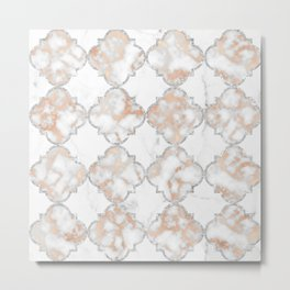 Silver and Rose Gold Marble Arabesque Metal Print