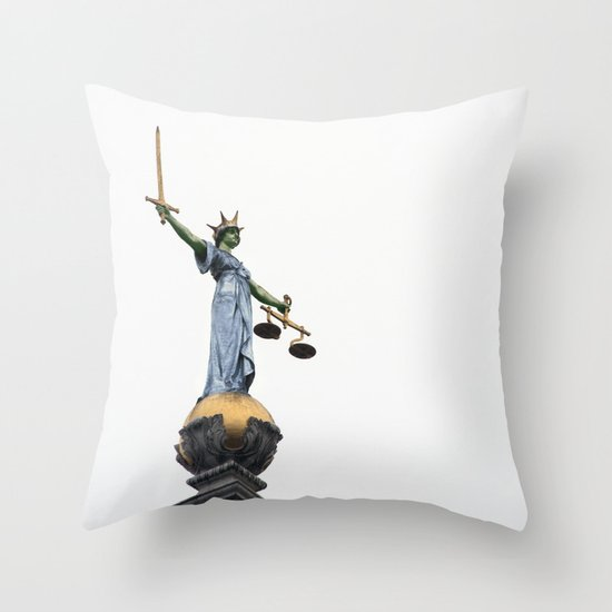 don't make her angry... Throw Pillow