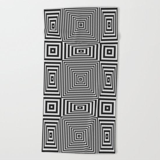 Flickering geometric optical illusion Beach Towel