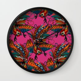 rooster ink pink Wall Clock