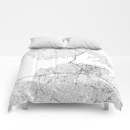 Auckland White Map Comforters