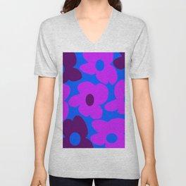 Large Pink and Purple Retro Flowers Blue Background #decor #society6 #buyart Unisex V-Neck