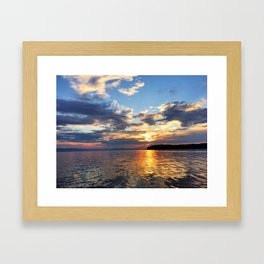 Sunset Over Lake Champlain Framed Art Print