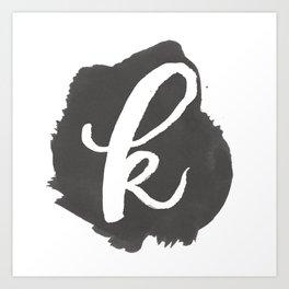 """""""K"""" Monogram, Watercolor Design Art Print"""