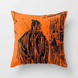 The Ghost at the Door Throw Pillow