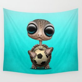 Cute Baby Turtle With Football Soccer Ball Wall Tapestry