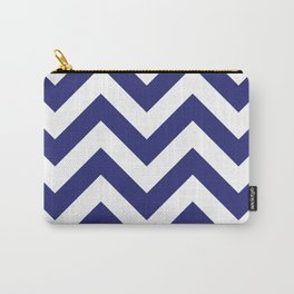 Large chevron pattern / navy blue Carry-All Pouch