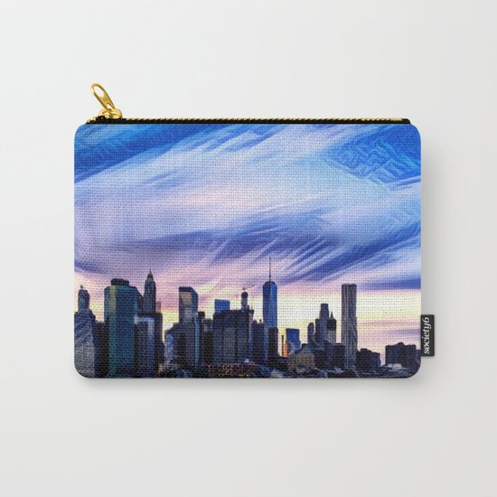 Romantic City Cityscape with Light Sunset and River Carry-All Pouch