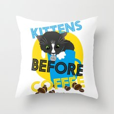 Kittens Before Coffee Throw Pillow