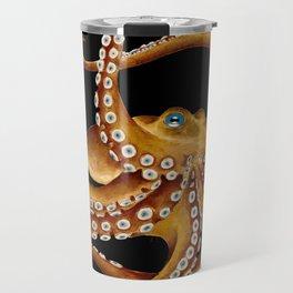 Brown Octopus Blue Eye Black Watercolor Travel Mug