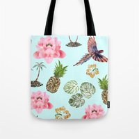 hawaiian Tote Bags featuring Hawaiian by Christopher Bennett