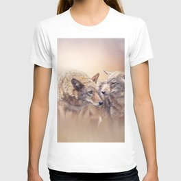 Two Young coyotes at sunset T-shirt