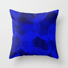 Abstract soap of ultramarine molecules and transparent bubbles on a deep blue background. Throw Pillow
