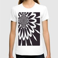 blankets T-shirts featuring Black & White Modern Flower by 2sweet4words Designs