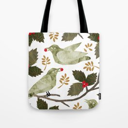 Birds and Holly in Greens, Golds and Red Tote Bag
