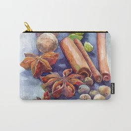 Watercolor winter spices cinnamon anise walnut pistachios Carry-All Pouch