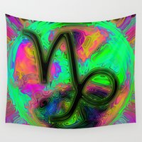 capricorn Wall Tapestries featuring Capricorn by Synesthetic