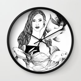 Woman with fishes - Ink artwork Wall Clock