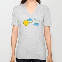 Sun and Moon - Cute Doodles Unisex V-Neck
