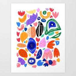 Juicy Summer Fruits Doodle Illustration by Emmanuel Signorino Art Print