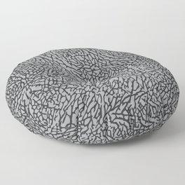Elephant Print Texture - Grey Floor Pillow