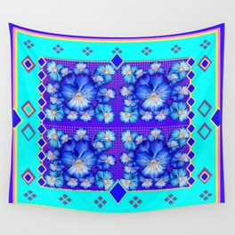Turquoise-Aqua Color Western Style Blue Pansies Pattern Wall Tapestry
