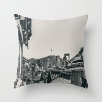 seoul Throw Pillows featuring Seoul Cityscape by Jennifer Stinson