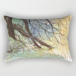 Trees bending over the water Rectangular Pillow