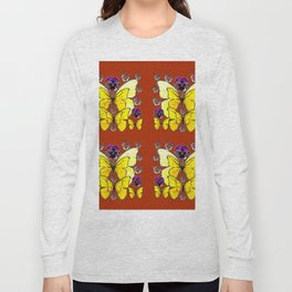 RUST COLORED YELLOW  BUTTERFLY & PANSY FLORAL Long Sleeve T-shirt