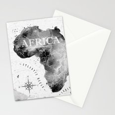 Black Africa Map Stationery Cards