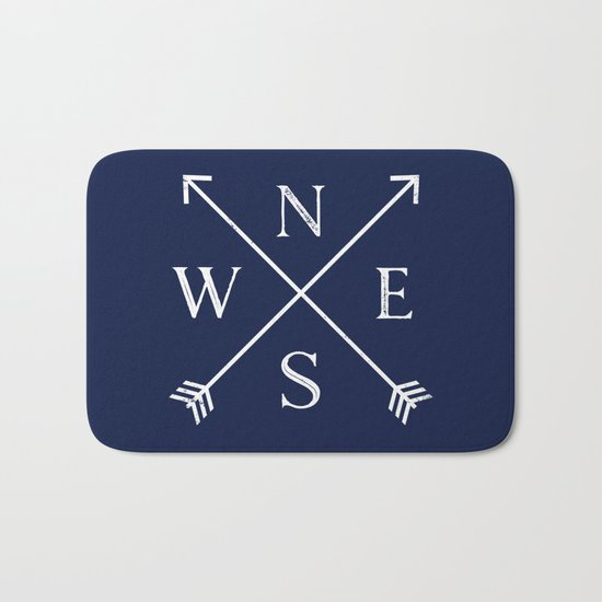 Navy Blue and White Compass Arrows Bath Mat