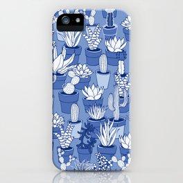 Succulents - Monochrome Blue iPhone Case