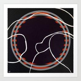 Lined - orange circle Art Print