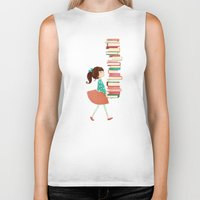 library Biker Tanks featuring Library Girl by Stephanie Fizer Coleman