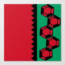 Gem Stripe - Red, Green, Black Canvas Print