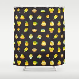 Sweet Lemon frog - dark Shower Curtain