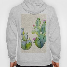 Water Color Prickly Pear Cactus Adobe Background Hoody