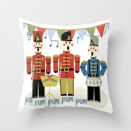 Holiday Wooden Toy Soldiers Singing Christmas Carols Pa Rum Pum Pum Pum Throw Pillow
