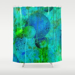 Blue Planets Bursting Plasma Shower Curtain