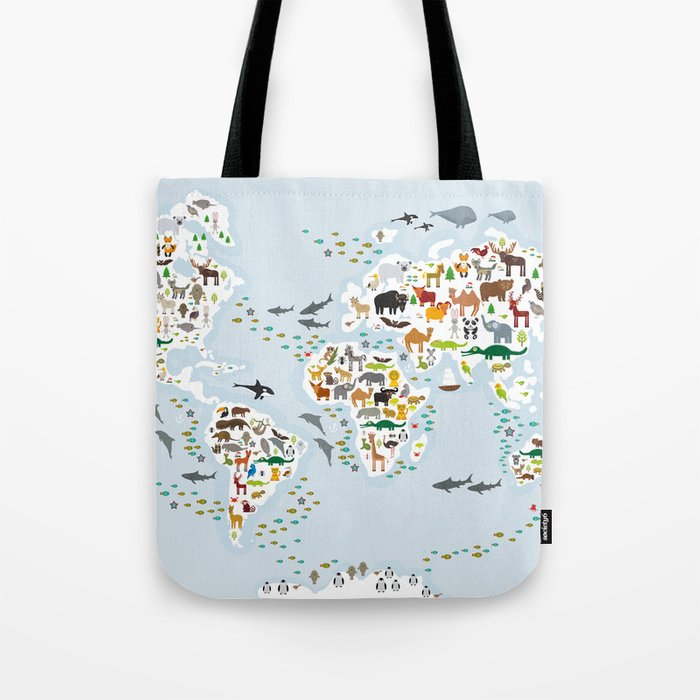 Cartoon animal world map for children and kids, Animals from all over the world Umhängetasche