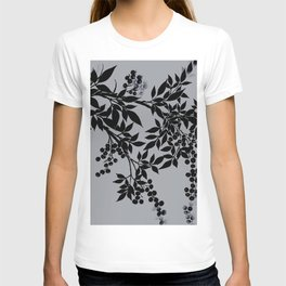 TREE BRANCHES BLACK AND GRAY LEAVES AND BERRIES T-shirt
