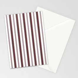Pantone Red Pear & White Wide & Narrow Vertical Lines Stripe Pattern Stationery Cards