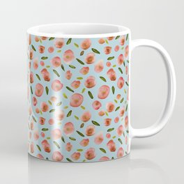 Poppies Hand-Painted Watercolors in Rose Pink on Sky Blue Coffee Mug