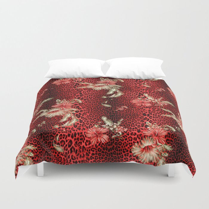 Wild Red Leopard and Flowers Duvet Cover