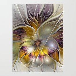 Abstract Fantasy Flower Fractal Art Poster