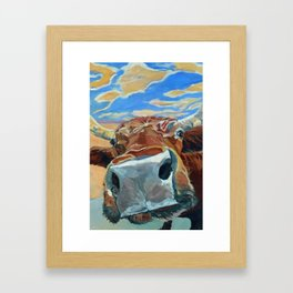 The Boy Down the Street Cow Portrait Framed Art Print